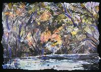 Eileen Downes artist collage landscape colorful torn paper painting