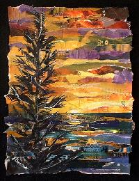 Eileen Downes artist collage colorful landscape ocean scene painting