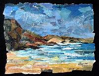 Eileen Downes artist collage landscape seascape torn paper painting