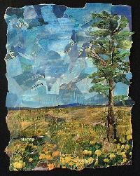 Eileen Downes artist collage landscape trees meadow painting