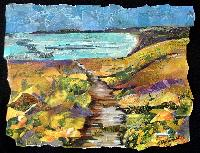 Eileen Downes artist collage landscape colorful seascape torn paper painting