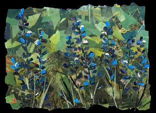 "Title: Blue Lupines - Corporate Collection of Kaiser Permanente Hospital Roseville Ca - Size: 18"" x 24"" - Medium: Collage"