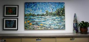 landscape collage painting sacramento california american river series eileen downes torn paper