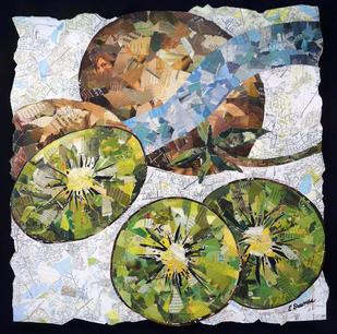 "Title: Our Farmers' Treasures (one of five pieces) Corporate Collection of Kaiser Permanente Hospital Vallejo Ca - Size 40"" x 40"" - Medium: Collage"